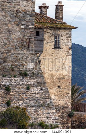 Windows of Medieval tower in  Ouranopoli, Athos, Chalkidiki, Central Macedonia, Greece