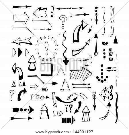 Black arrows set on white background. Hand drawn arrows set. Sketched style.