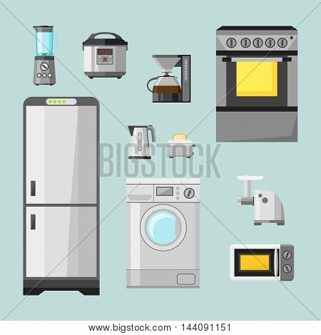 Kitchen appliances flat icons set. Set of cooking elements: electric kettle, toaster, fridge, microwave, coffee machine, blender, grinder, stove. Vector illustration.