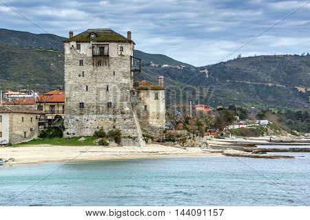Panoramic view of Ouranopoli and Medieval tower, Athos, Chalkidiki, Central Macedonia, Greece