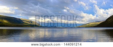Panorama of the Lake Seydyavr behind the Arctic Circle on the Kola Peninsula