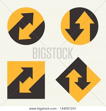 Modern set template monogram, emblem, logo. Symbol of stripes and arrows symbolizing the development, cyclicity, stability.