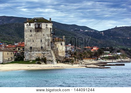 Panorama of Ouranopoli and Medieval tower, Athos, Chalkidiki, Central Macedonia, Greece