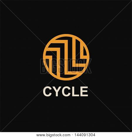 Modern template monogram, emblem, logo. Circle of stripes and arrows symbolizing the development, cyclicity, stability.