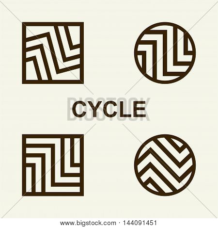 Modern set template monogram, emblem, logo. Symbol of stripes and arrows symbolizing the development, cyclicity, stability.