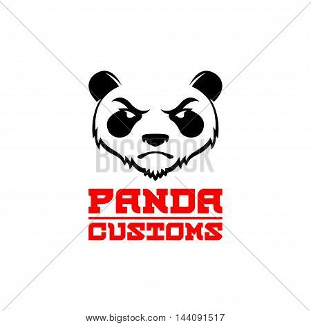 Original Design Logo, Emblem, Label Template with Angry Panda. Animal design template elements for your corporate identity or sport team branding. For your Small Business Design. Vector EPS10.