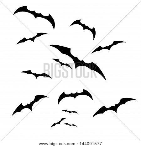 Abstract black Halloween illustration on white background