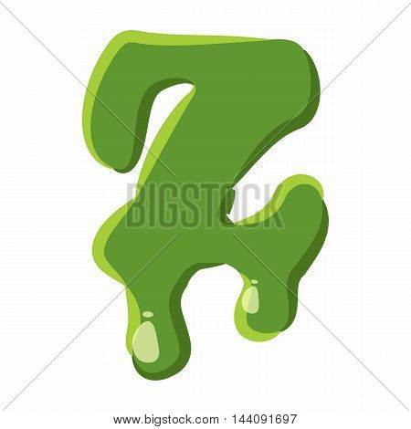 Letter Z from latin alphabet with numbers and symbols made of green slime. Font can be used for Halloween design and other purposes