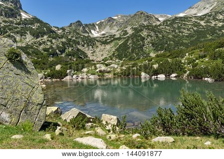 Amazing landscape of Banski lakes and Small Polezhan peak,  Pirin Mountain, Bulgaria