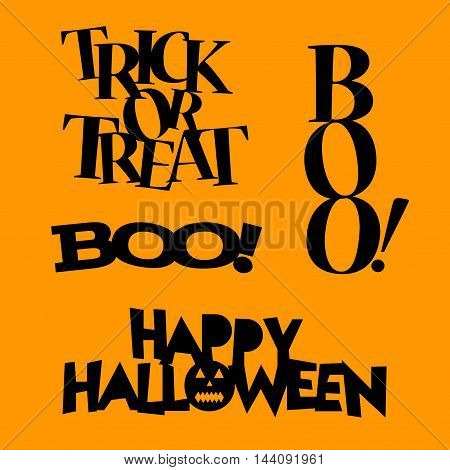 Beautiful art creative colorful Halloween illustration of many black with text on orange background