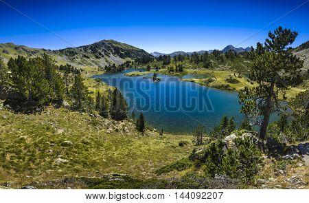 Panoramic View Of Lac De Bastan At Saint Lary Soulan