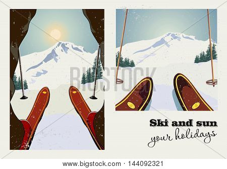 Vintage vector poster of two pictures. Skier getting ready to descend the mountain. Winter background. Grunge effect it can be removed.