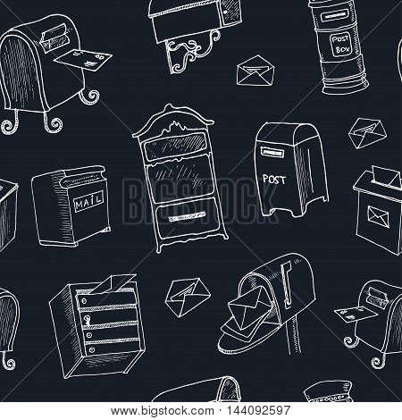 Doodle postbox seamless pattern Vintage illustration for identity, design, decoration, packages product and interior decorating.