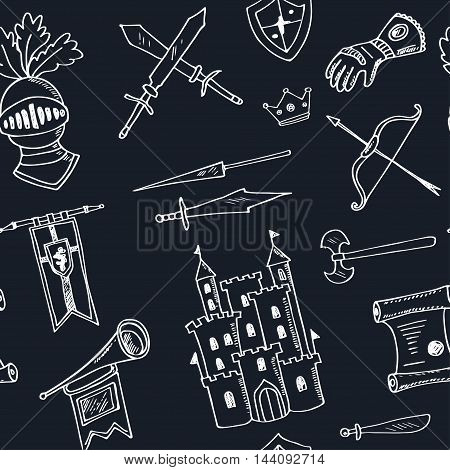 Sketch knight symbols and elements vector seamless pattern