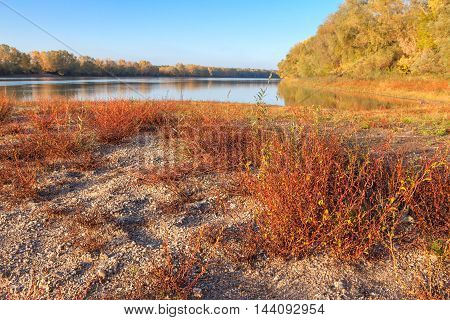 autumn scenery with calm water of lake