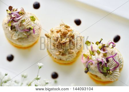 fancy food arrangement with healthy roe salad and wheat germs