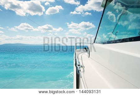 Side view of a luxury yacht at the sea with copy space