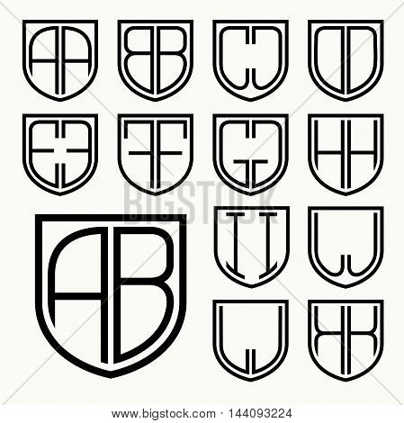Set 1 of template letters inscribed in the shield for the creation of logos, monograms, emblem