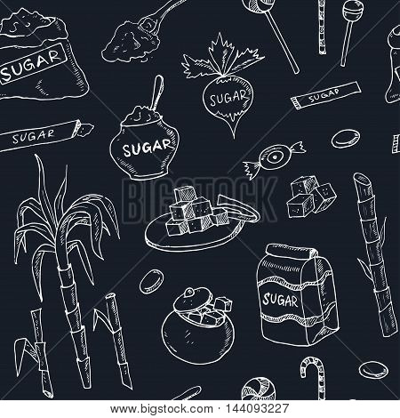 Doodle seamless pattern sugar products Vector illustration for menus, recipes and packages