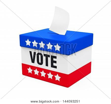 USA Ballot Box isolated on white background. 3D render
