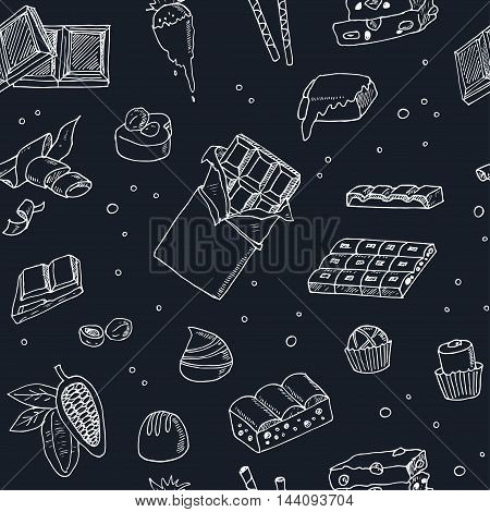 Vector seamless pattern with chocolate. Illustration for menus, recipes and packages product
