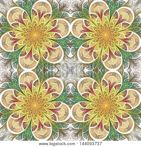 Multicolored seamless flower pattern in stained-glass window style.