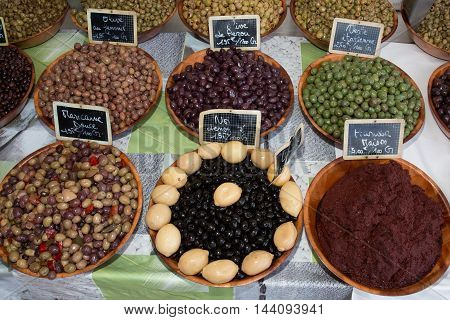 Various Kinds Of Olives At A French Market