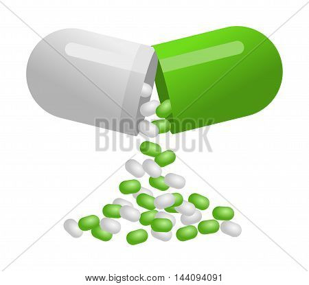 Medical green capsule pill isolated on white background
