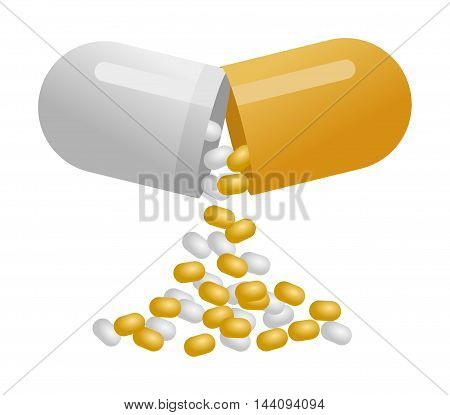 Medical yellow capsule pill isolated on white background