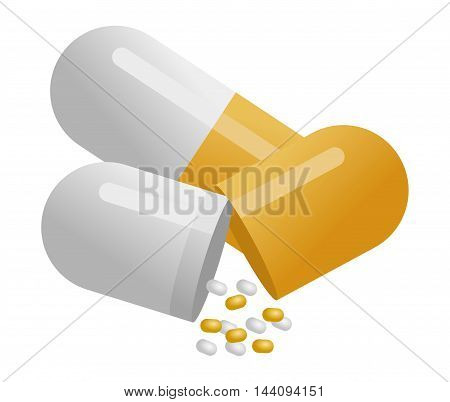 Yellow pills isolated on white background - illustration