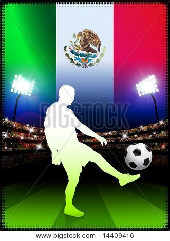 Mexico Soccer Player on Stadium Background with Flag Original Illustration