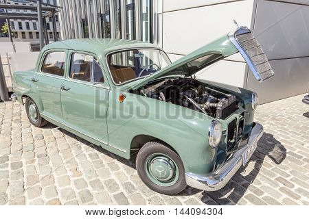 COLOGNE GERMANY - AUG 7 2016: Historic Mercedes Benz W120 luxury sedan from ca. 1960 at an exhibition in the city of Cologne Germany