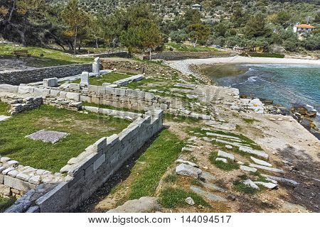 Small Beach and Archaeological site of Aliki, Thassos island,  East Macedonia and Thrace, Greece