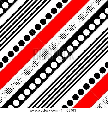 Seamless Diagonal Stripe and Circle Pattern. Vector Black and Red Chaotic Background. Wrapping Paper Ornament