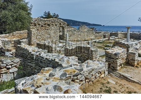 Column in Ruins of ancient church in Archaeological site of Aliki, Thassos island,  East Macedonia and Thrace, Greece