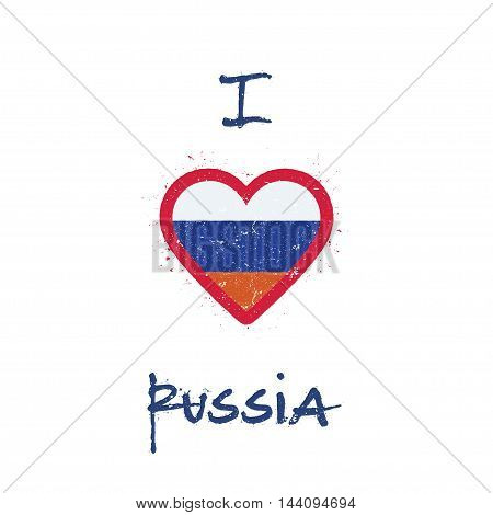 I Love Russian Federation T-shirt Design. Russian Flag In The Shape Of Heart On White Background. Gr