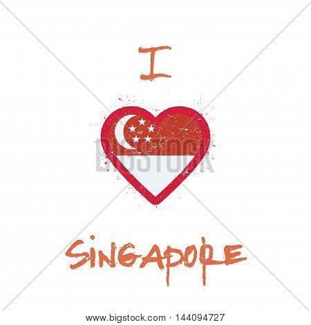 I Love Singapore T-shirt Design. Singaporean Flag In The Shape Of Heart On White Background. Grunge
