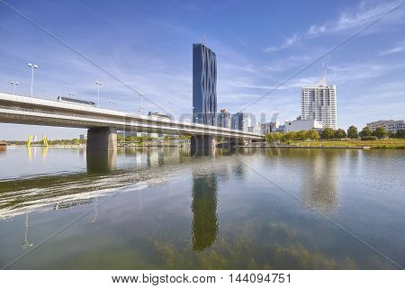 Financial District In Vienna With Danube River.