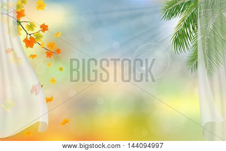 Curtains autumn maple and palm tree. Seasonal vector background.
