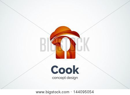 Cook hat with spoon logo template, cooking kitchen concept - geometric minimal style, created with overlapping curve elements and waves. Corporate identity emblem, abstract business company branding