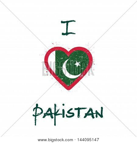 I Love Pakistan T-shirt Design. Pakistani Flag In The Shape Of Heart On White Background. Grunge Vec