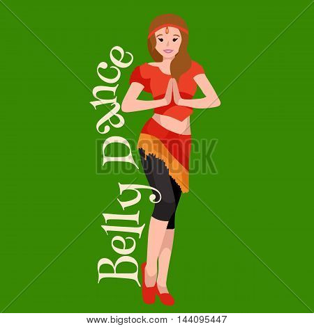 Beautiful girl belly dancer with space pattern on dress. Arabic young woman belly dancing performance vector illustration isolated