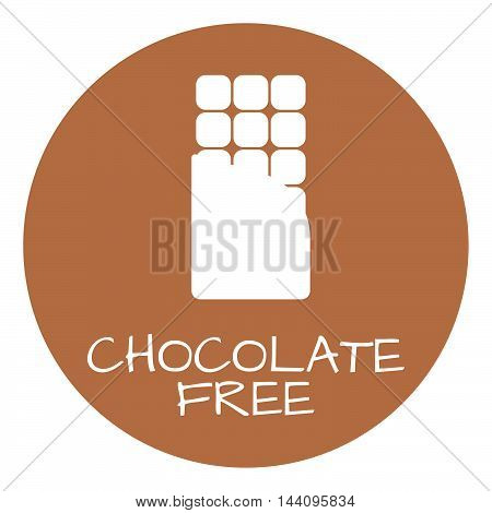 Chocolate Free Label. Food Intolerance Symbols. Vector Illustration.