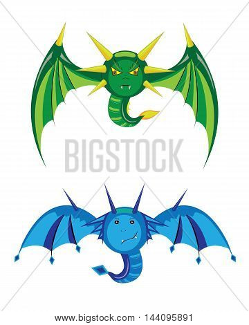 Two smilies of a dragon with wings