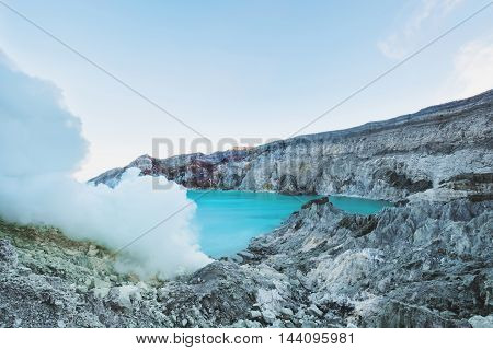 Landscape, Kawah Ijen volcano , in indonesia