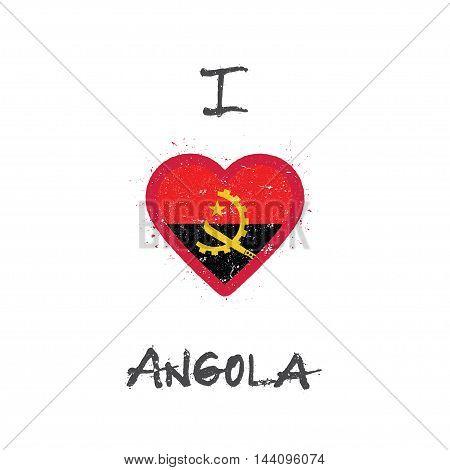 I Love Angola T-shirt Design. Angolan Flag In The Shape Of Heart On White Background. Grunge Vector