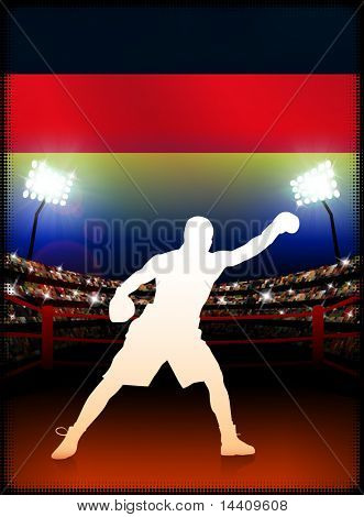 Germany Boxing Event with Stadium Background and Flag Original Illustration