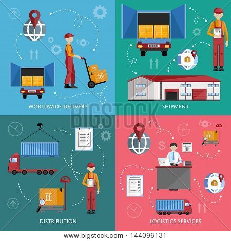 Logistic and warehouse infographics. Worldwide delivery process. Shipment on warehouse. Distribution goods and shipment of goods in container. Logistic service process infographics. Logistic concept. Warehouse process icons.