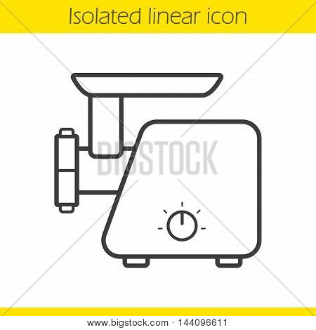 Electric mincer linear icon. Thin line illustration. Meat grinder contour symbol. Vector isolated outline drawing