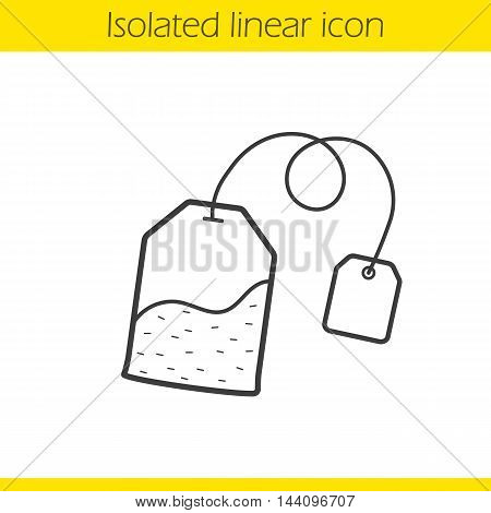 Tea bag linear icon. Thin line illustration. Ceylon teabag contour symbol. Vector isolated outline drawing